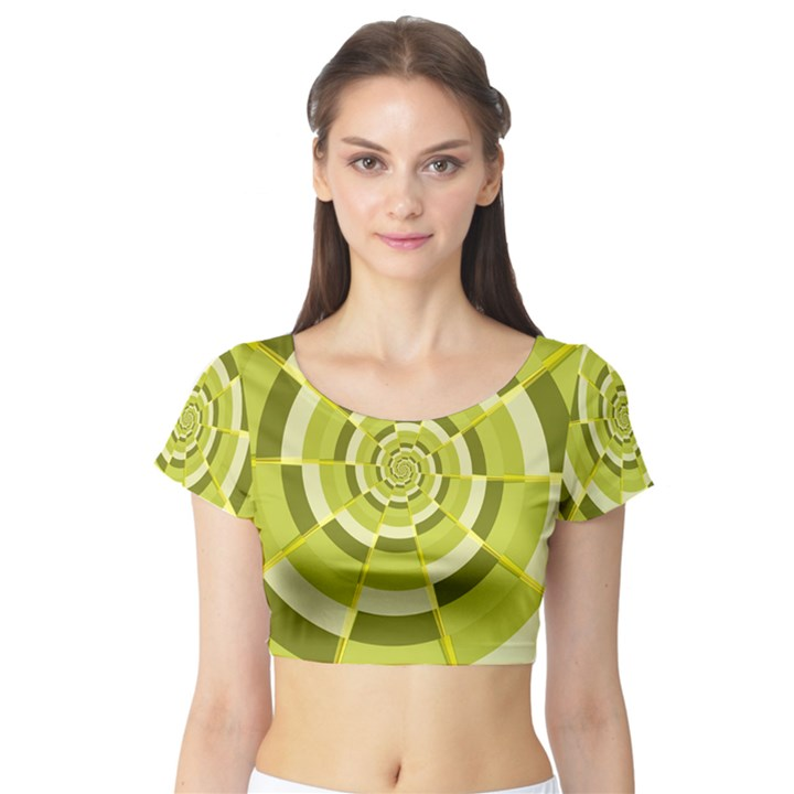 Crazy Dart Green Gold Spiral Short Sleeve Crop Top (Tight Fit)