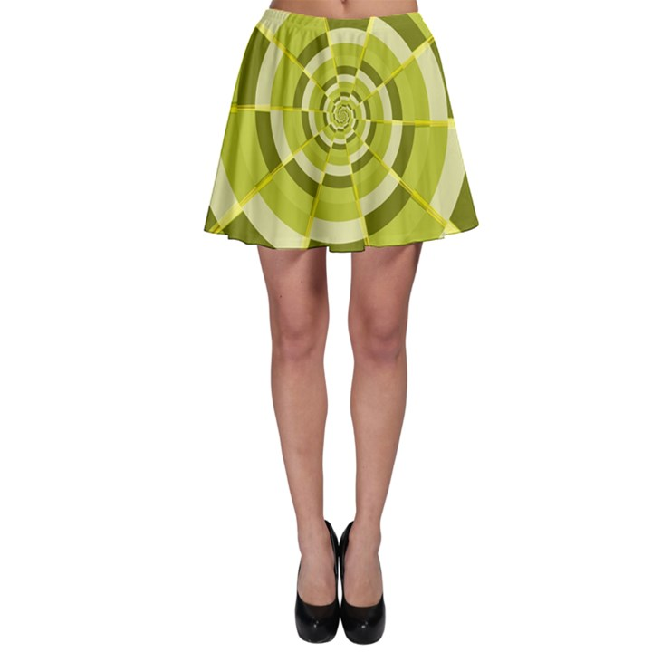 Crazy Dart Green Gold Spiral Skater Skirt