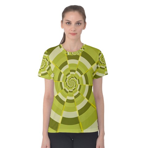 Crazy Dart Green Gold Spiral Women s Cotton Tee