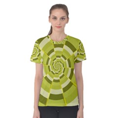 Crazy Dart Green Gold Spiral Women s Cotton Tee