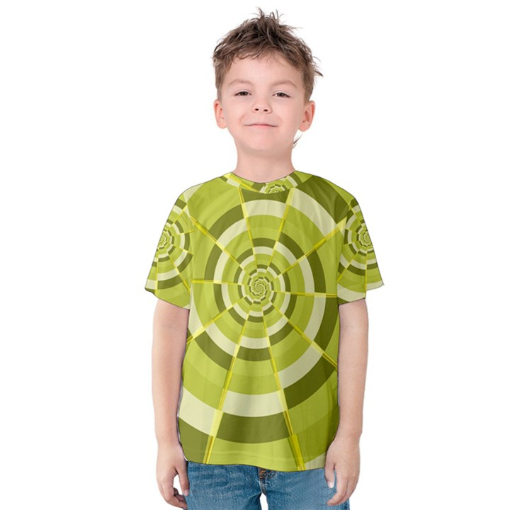 Crazy Dart Green Gold Spiral Kids  Cotton Tee