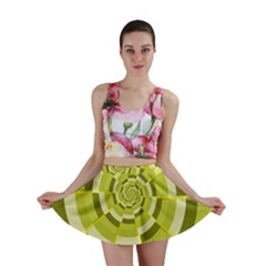 Crazy Dart Green Gold Spiral Mini Skirt