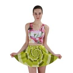 Crazy Dart Green Gold Spiral Mini Skirt