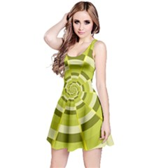 Crazy Dart Green Gold Spiral Reversible Sleeveless Dress