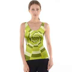 Crazy Dart Green Gold Spiral Tank Top
