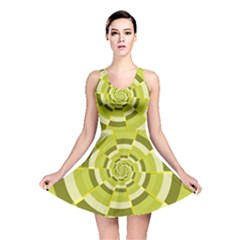 Crazy Dart Green Gold Spiral Reversible Skater Dress