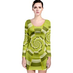 Crazy Dart Green Gold Spiral Long Sleeve Bodycon Dress