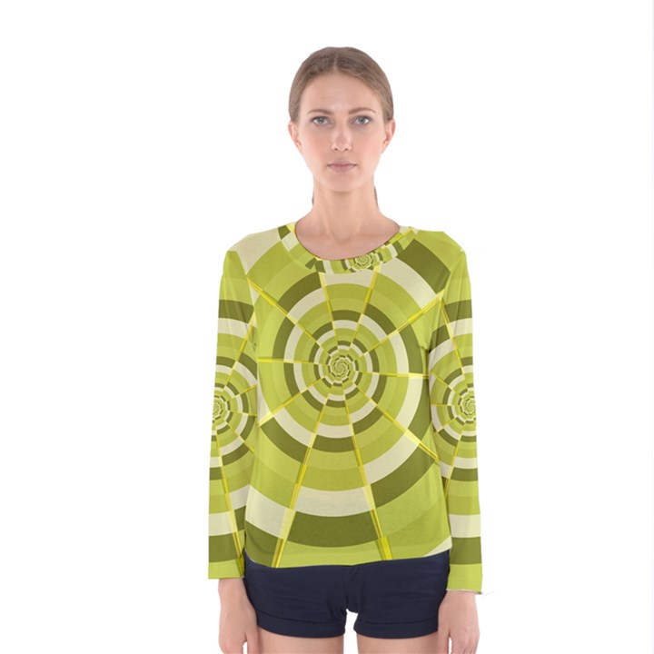 Crazy Dart Green Gold Spiral Women s Long Sleeve Tee