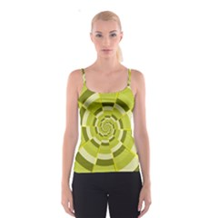 Crazy Dart Green Gold Spiral Spaghetti Strap Top