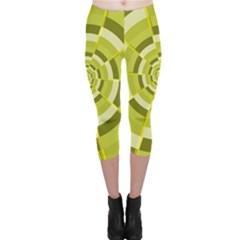 Crazy Dart Green Gold Spiral Capri Leggings