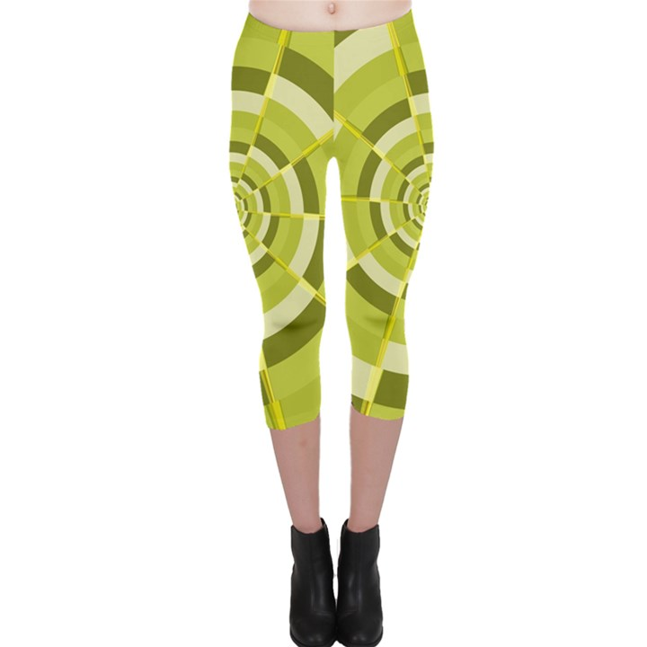 Crazy Dart Green Gold Spiral Capri Leggings