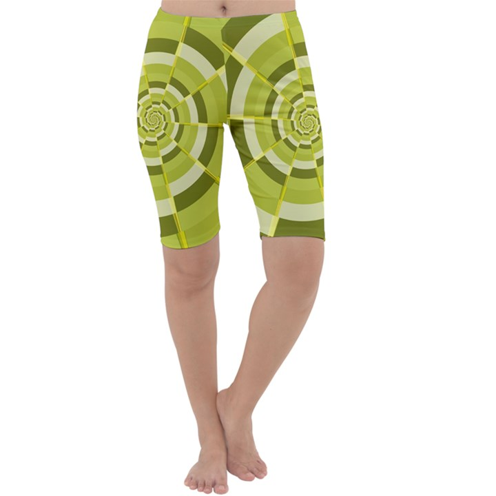 Crazy Dart Green Gold Spiral Cropped Leggings