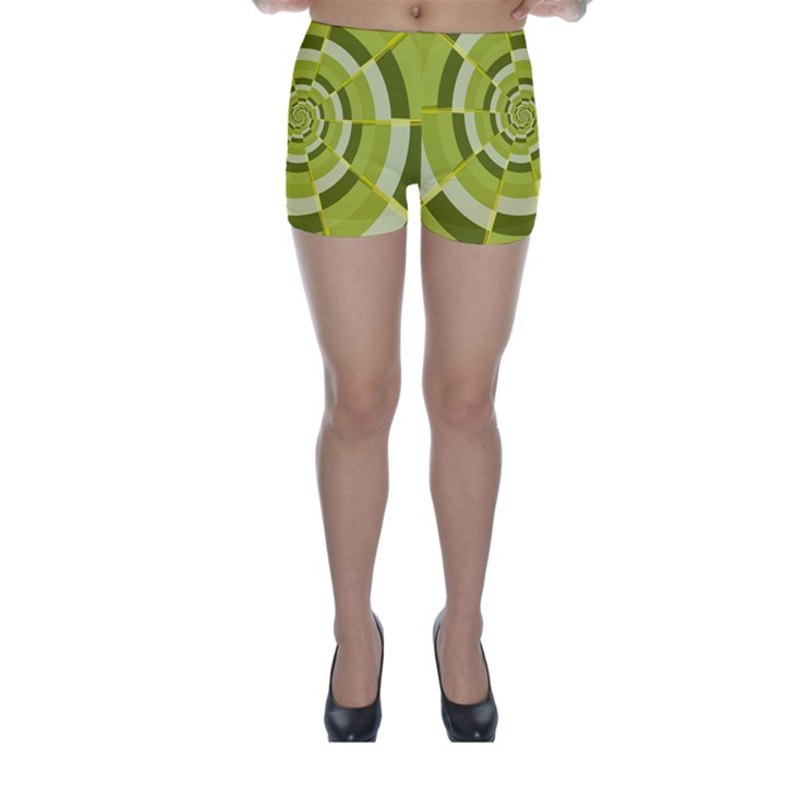 Crazy Dart Green Gold Spiral Skinny Shorts