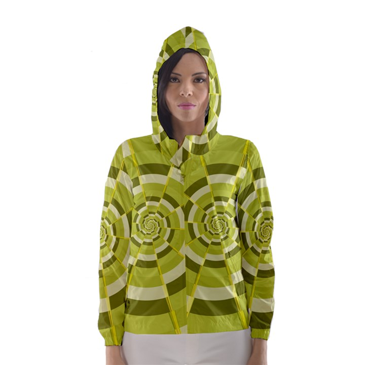 Crazy Dart Green Gold Spiral Hooded Wind Breaker (Women)