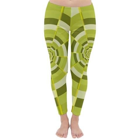 Crazy Dart Green Gold Spiral Winter Leggings