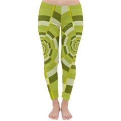 Crazy Dart Green Gold Spiral Winter Leggings