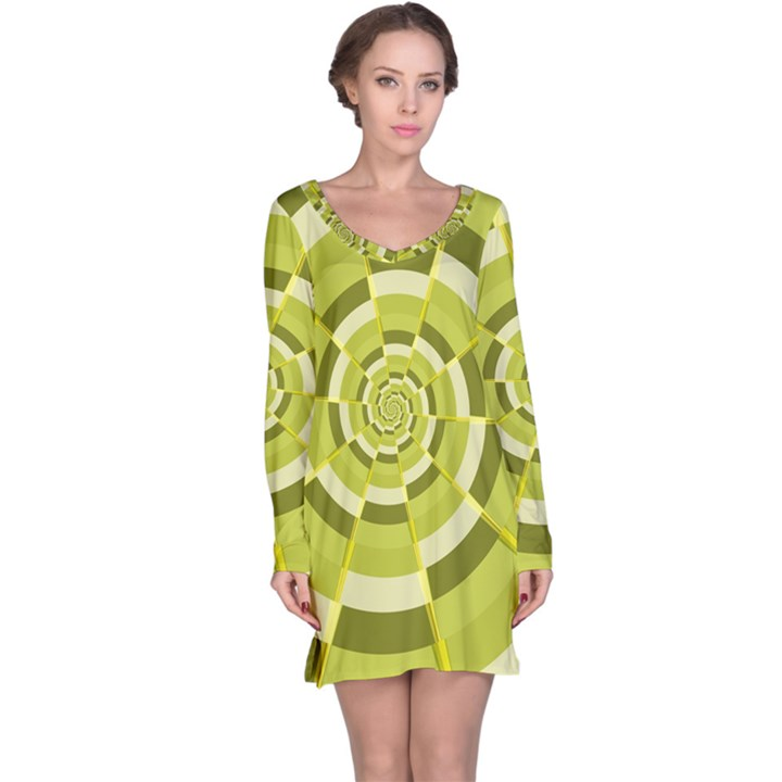 Crazy Dart Green Gold Spiral Long Sleeve Nightdress