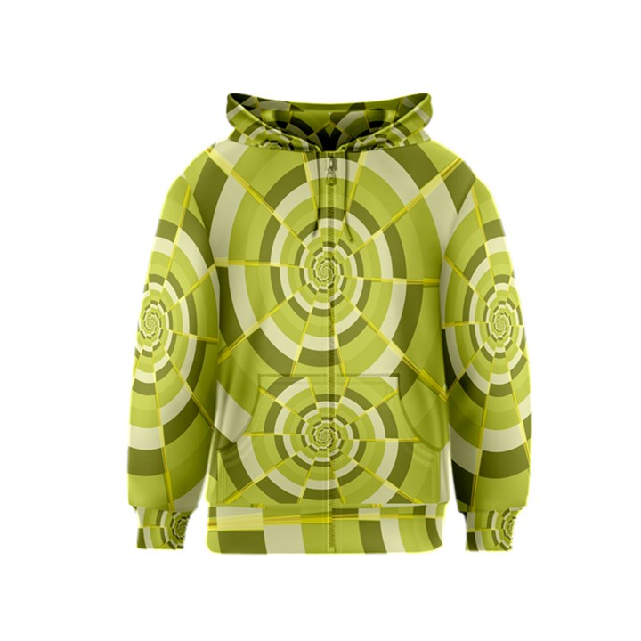 Crazy Dart Green Gold Spiral Kids  Zipper Hoodie