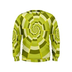 Crazy Dart Green Gold Spiral Kids  Sweatshirt