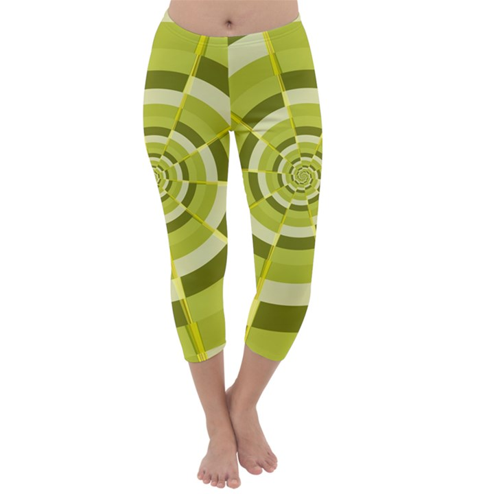 Crazy Dart Green Gold Spiral Capri Winter Leggings