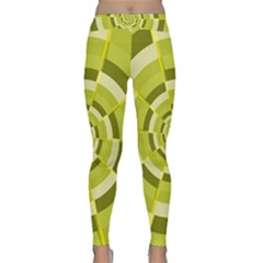 Crazy Dart Green Gold Spiral Yoga Leggings