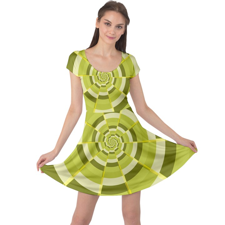 Crazy Dart Green Gold Spiral Cap Sleeve Dresses