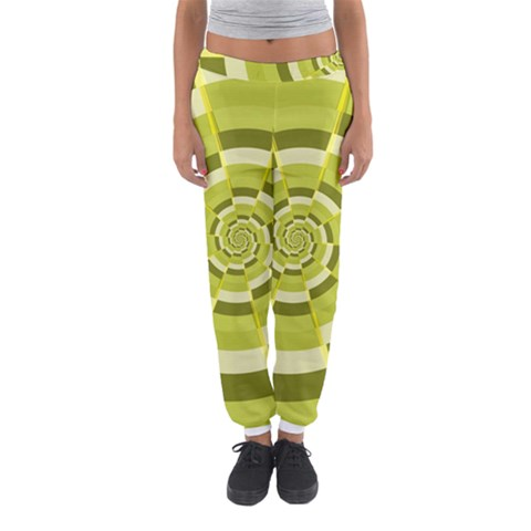 Crazy Dart Green Gold Spiral Women s Jogger Sweatpants