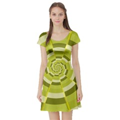 Crazy Dart Green Gold Spiral Short Sleeve Skater Dress