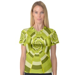 Crazy Dart Green Gold Spiral Women s V Neck Sport Mesh Tee