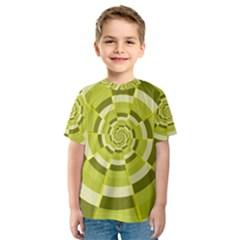 Crazy Dart Green Gold Spiral Kids  Sport Mesh Tee