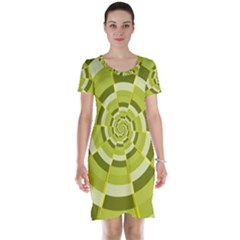 Crazy Dart Green Gold Spiral Short Sleeve Nightdress