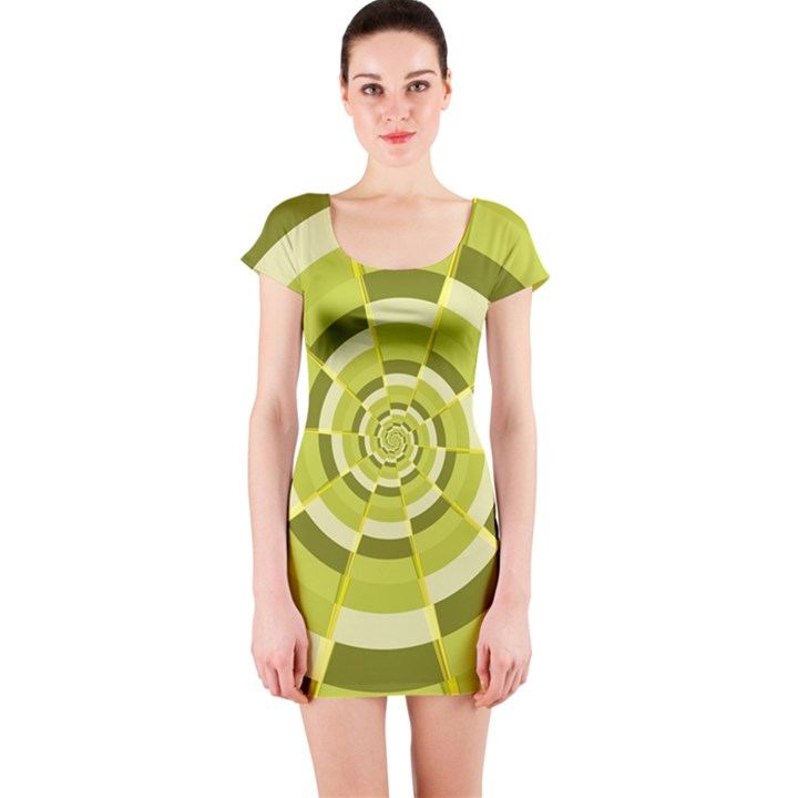 Crazy Dart Green Gold Spiral Short Sleeve Bodycon Dress