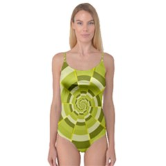 Crazy Dart Green Gold Spiral Camisole Leotard