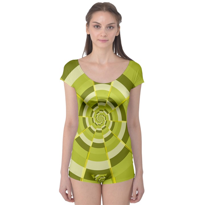 Crazy Dart Green Gold Spiral Boyleg Leotard