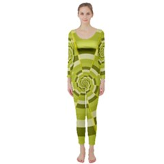Crazy Dart Green Gold Spiral Long Sleeve Catsuit