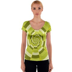 Crazy Dart Green Gold Spiral Women s V-Neck Cap Sleeve Top