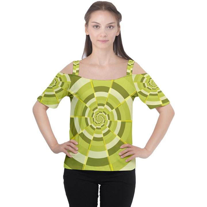 Crazy Dart Green Gold Spiral Women s Cutout Shoulder Tee
