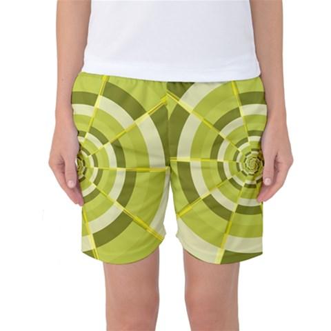 Crazy Dart Green Gold Spiral Women s Basketball Shorts