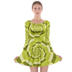 Crazy Dart Green Gold Spiral Long Sleeve Skater Dress