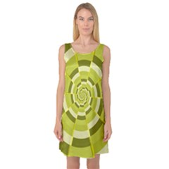 Crazy Dart Green Gold Spiral Sleeveless Satin Nightdress