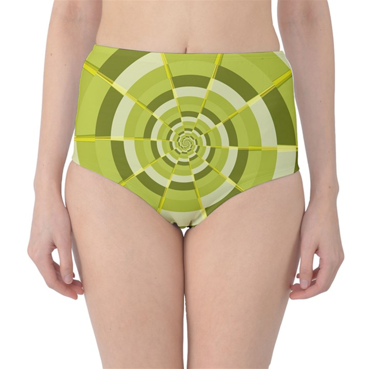 Crazy Dart Green Gold Spiral High-Waist Bikini Bottoms