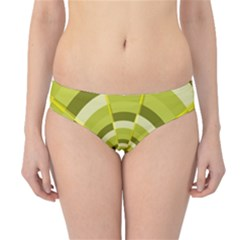 Crazy Dart Green Gold Spiral Hipster Bikini Bottoms