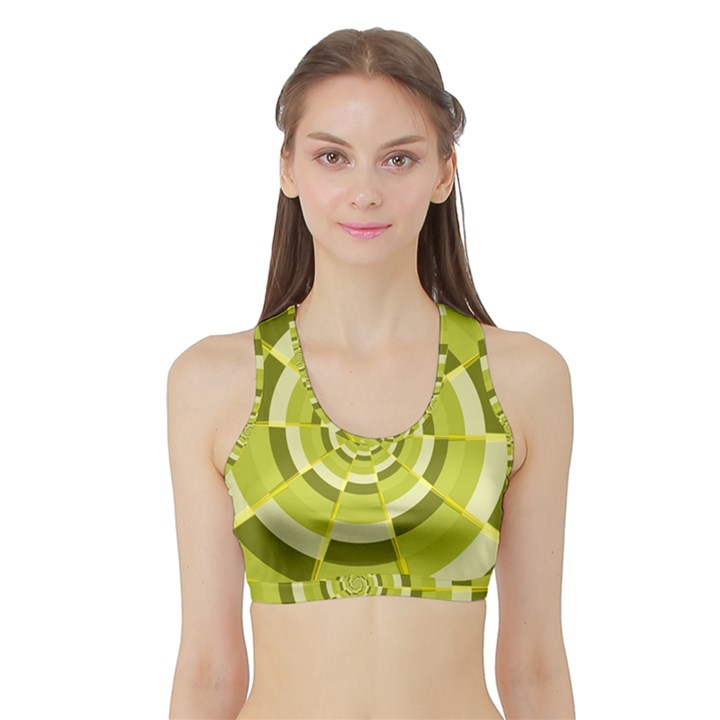 Crazy Dart Green Gold Spiral Sports Bra with Border
