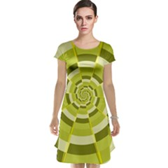 Crazy Dart Green Gold Spiral Cap Sleeve Nightdress