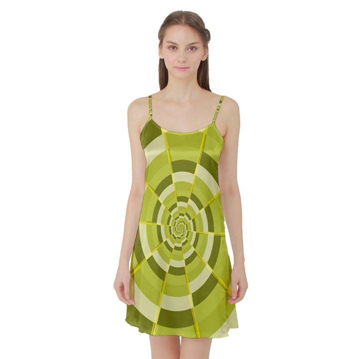 Crazy Dart Green Gold Spiral Satin Night Slip