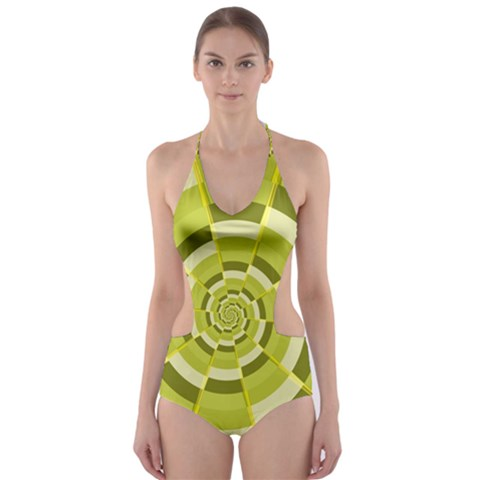 Crazy Dart Green Gold Spiral Cut-Out One Piece Swimsuit