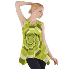 Crazy Dart Green Gold Spiral Side Drop Tank Tunic