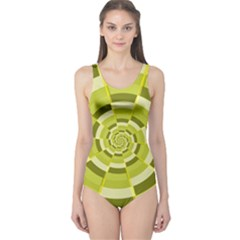 Crazy Dart Green Gold Spiral One Piece Swimsuit