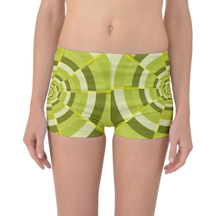 Crazy Dart Green Gold Spiral Reversible Boyleg Bikini Bottoms