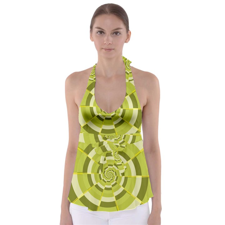 Crazy Dart Green Gold Spiral Babydoll Tankini Top